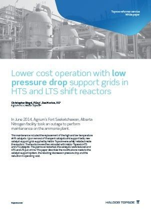 Lower cost operation with low pressure drop support grids in HTS and LTS