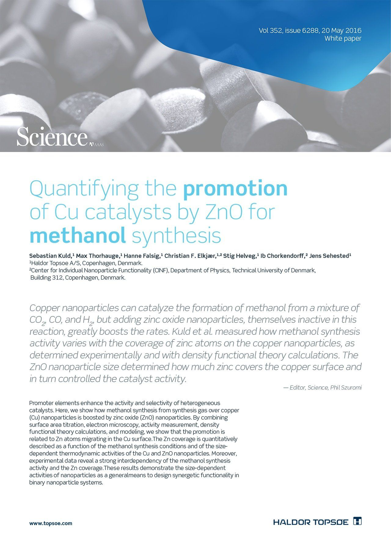 Quantifying the promotion of Cu catalysts by ZnO for methanol synthesis