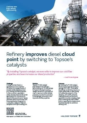 Refinery improves diesel cloud point by switching to Topsoe's catalysts