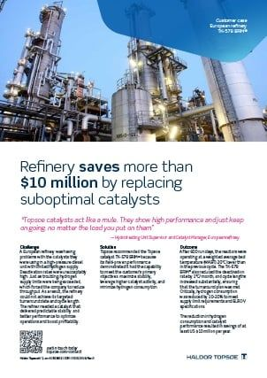 Refinery saves more than $10 million by replacing suboptimal catalysts