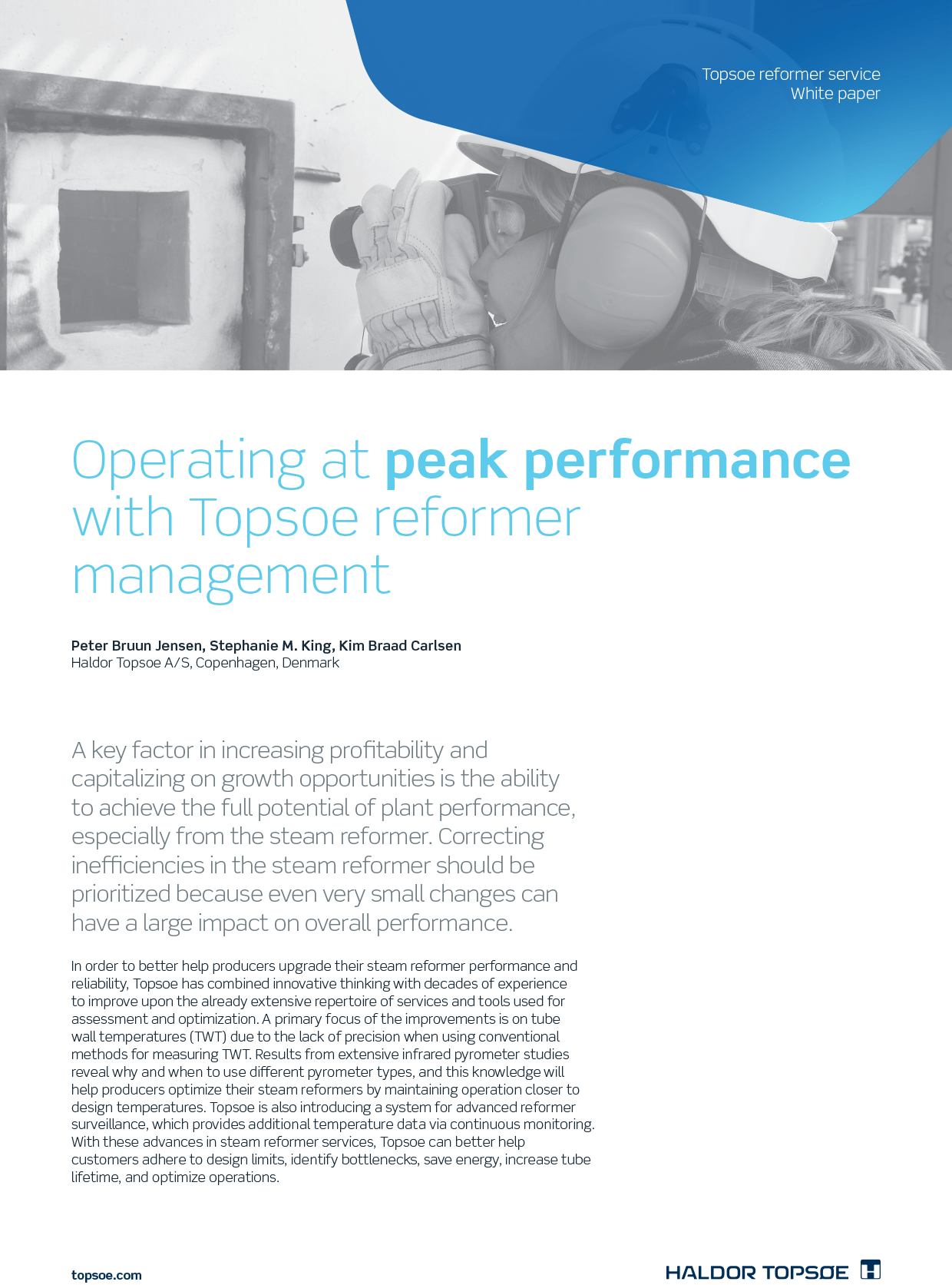 Operating at peak performance with Topsoe reformer management