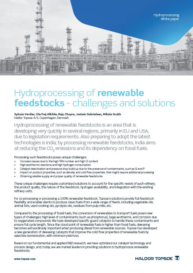 Hydroprocessing of renewable feedstocks - challenges and solutions