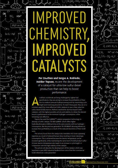 Improved chemistry, improved catalysts - article in HCE Nov 2020