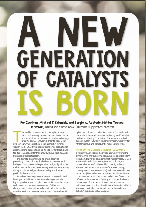 A new generation of catalysts is born - article in HCE March 2021