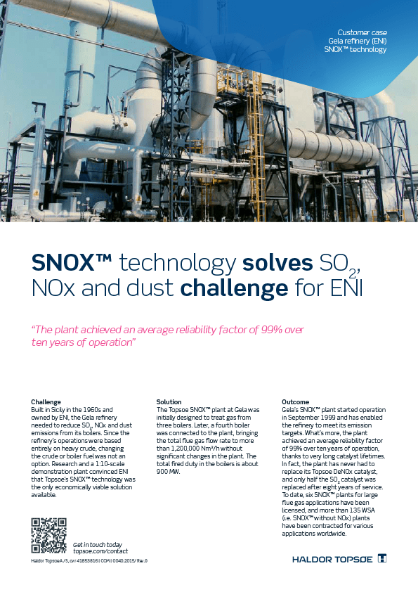 SNOX™ technology solves SO2, NOx and dust challenge for ENI