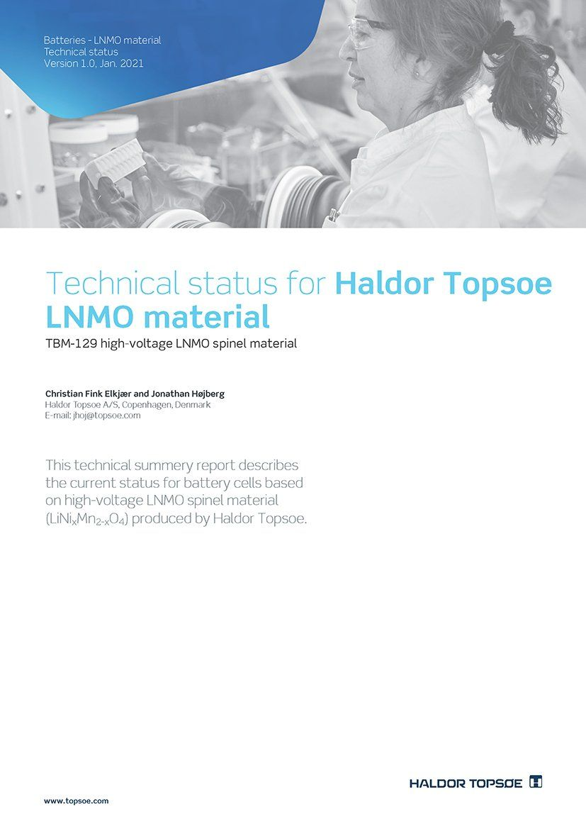 Technical status for LNMO material - January 2021