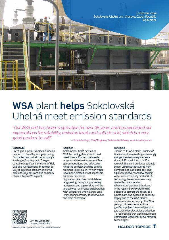WSA plant helps Sokolovská Uhelná meet emission standards